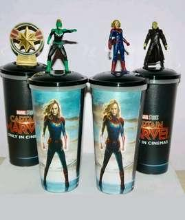 VERY HOT & VERY RARE!! *Pre Order* Marvel Studios Captain Marvel Exclusive Official Licensed Limited Edition Movie Premium: A set of 4 Cup Topper with cups!