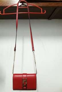 Topshop red faux leather purse