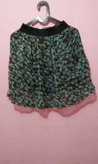 Green Flower Mini Skirt