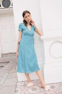 BNWT Kissablebella Keepsake Dotty Wrap Midi Dress (Blue Polka Dots) Size S