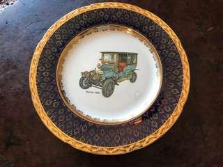 Gold rimmed rare plate with Mercedes - never used - all original