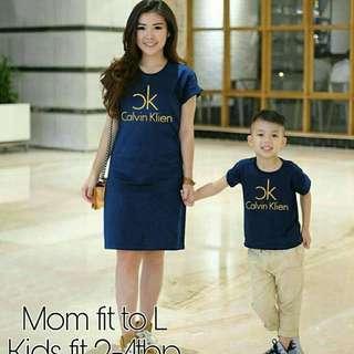 MKCP CALVIN NAVY /Maroon/ hitam- mom couple kid-dress couple ibu anak
