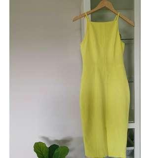 H&M Lemon Yellow Pencil Dress w Slit