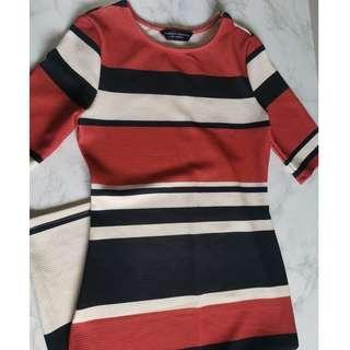 Dorothy Perkins Striped Orange Midi Dress #dressforsuccess30