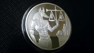 埃及阿努比斯鍍銀幣,埃及銀幣,阿努比斯銀幣,銀幣,鍍銀幣,收藏錢幣,錢幣,紀念幣,幣~埃及阿努比斯鍍銀幣