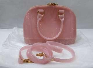 tas wanita jelly bag import pink