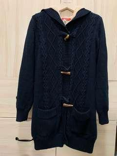 🚚 內刷毛長版海軍藍針織牛角釦外套 全新