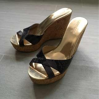 7a1119808176 Jimmy Choo Pandora Snake-Print Wedge Slide Sandal gold (size 39)