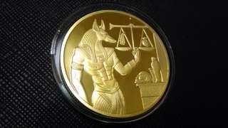埃及阿努比斯鍍金幣,埃及鍍金幣,金幣,阿努比斯鍍金幣,收藏錢幣 錢幣,紀念幣,幣~埃及阿努比斯鍍金幣