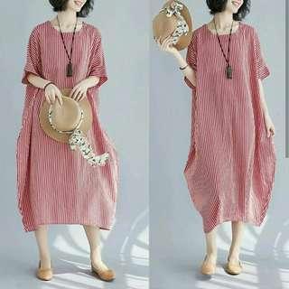 LONG DRS BIGSTRIP CABE #jumbodresslong dress big salur