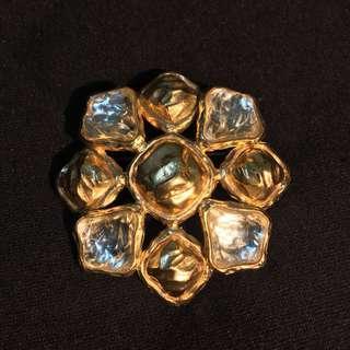 Rare! Yves Saint Laurent Glass Cabochon Brooch/Pendant