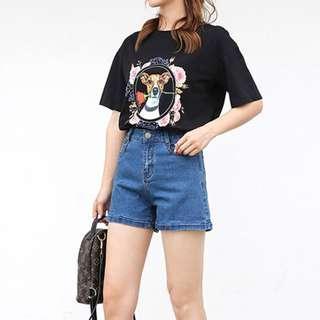 Plus-size Basic Denim Shorts
