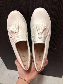 🚚 流蘇 白 包鞋 厚底