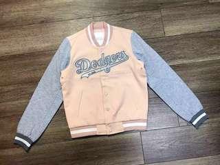 *減價*MLB少女粉紅搭灰色Dodgers棒球外套衛衣#跟我一起半價出清