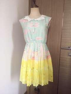 Fairy tale print pleated dress