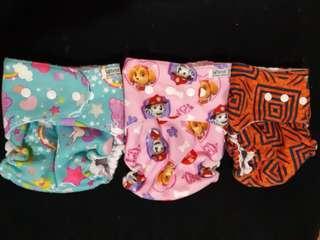 3 sets White Snaps Cloth Diaper
