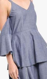 Zalora Grey Off Shoulder Dress XL 14 42