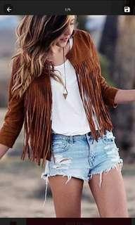Suede jacket with tassel