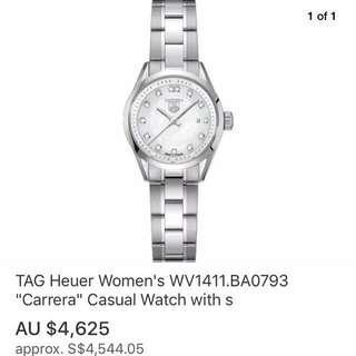 Tag Heuer Carrera Ladies Model With Genuine Sparkling Diamonds