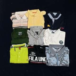 polo shirt 7pcs, tee 1pcs, hem 1pcs