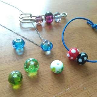 人手燒製 玻璃珠 可做首飾 頸鏈 手鏈 髮飾