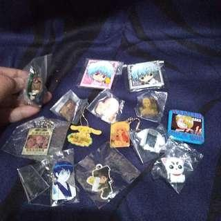 Assorted anime.pins and can badges