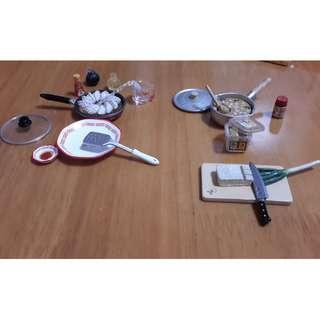 Re-ment絕版食玩2005年「晚餐準備好嗎?」1號味噌湯及9號煎餃子