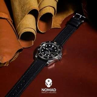 🚚 Emery Chevre Leather Strap in Black (available in 20 and 22mm)