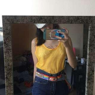yellow see through top