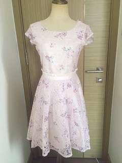 Lilac floral print lace dress
