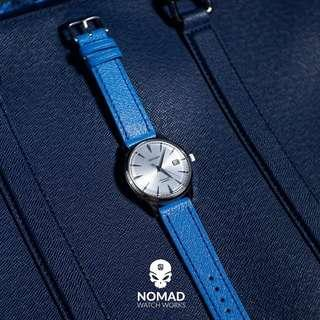 🚚 Emery Chevre Leather Strap in Blue (available in 20 and 22mm)