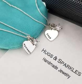 Hand Stamped Heart & Dangling Star Stone Necklace | Personalised Customised Gift