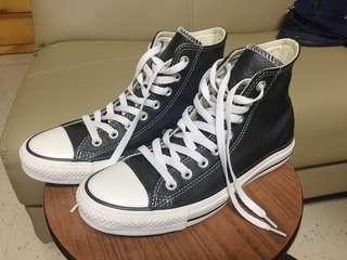 全新 Converse 黑色 皮 高筒 25cm