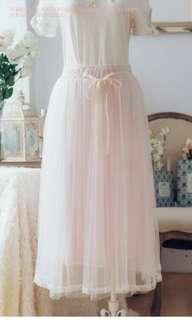 夏季長裙 Hello Kitty 聯名款-碎花蕾絲長紗裙