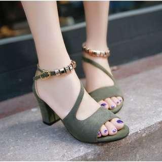 Elegant Classy High Heels / Dinner Shoe / Slipper / Kasut Tinggi / Square / Sandal / Lawa