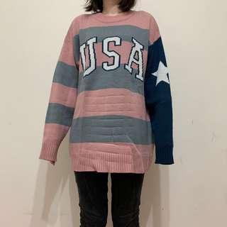 🚚 USA粉藍條紋圓領毛衣