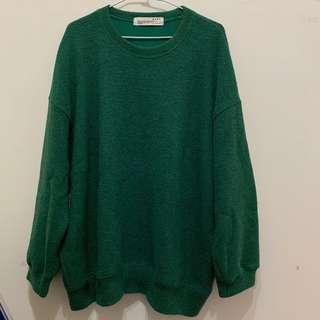🚚 Ramon綠色寬鬆圓領毛衣