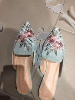 Slip On Embroided Jeans Flat
