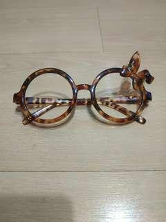 🚚 Cute bunny ear ribbon oversized round glasses tortoiseshell