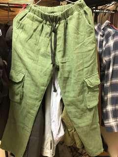 🚚 墨綠工裝褲
