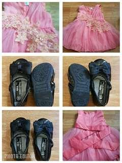 Baby gown and shoes bundle