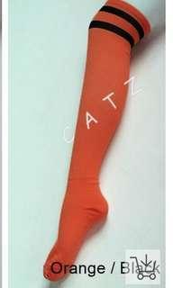 🚚 Orange Black Striped Knee High Socks