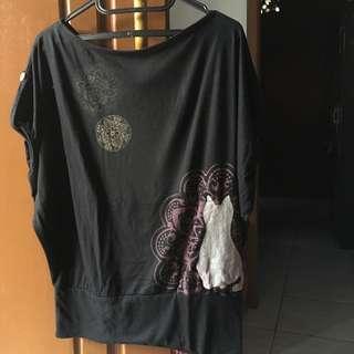 Kaos Wanita Black Lucu Multifungsi