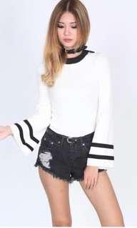 MDS justine Top in white (knit) size M