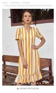 🚚 TCL Enisa stripes ruffled hem midi dress