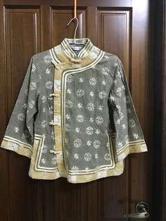 中國風 唐裝 墨綠 黃色 金邊 中國結 上衣 外套 印染