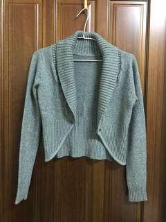 灰色 秋冬 小外套 罩衫 長袖 針織外套 開領外套 大翻領 高領 厚款 毛衣外套