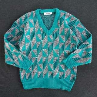 🚚 🌴90s幾何圖形撞色V領毛衣 復古針織衫 女款Vintage 古著