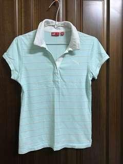 PUMA 藍綠色 台灣製 橫條 短袖 polo衫