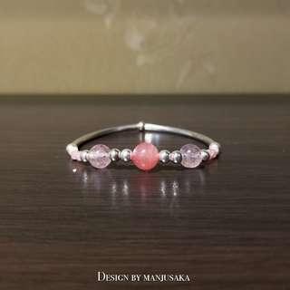 【LOVE STORY】Sterling Sliver x Gemstone Elastic bracelet